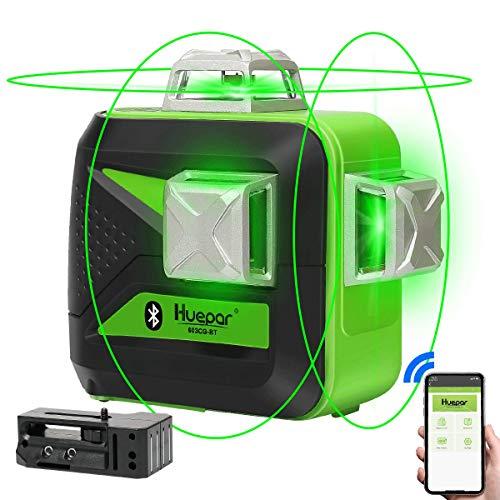 Huepar 3D Nivel Láser Verde 3x360 con Bluetooth & MODO DE PULSO, Conmutables 12 Líneas Autonivelante Líneas Cruzado, 360 Vertical/Horizontal Líneas, con Batería de Litio Recargable, 603CG-BT