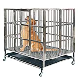 unhg Heavy Duty Stainless Steel Metal Dog Cage Kennel Crate and Playpen for Training Large Dog Indoor Outdoor with Door & Locks Design Included Lockable Wheels Removable Tray