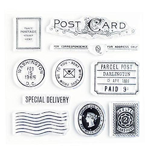 Special Delivery Clear Stamps 4x4 inch by Wintertime Crafts for Scrapbooking, Art Journals and Letter Writing, Postcard and Postage Stamps