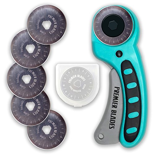 Premier Blades 45mm Rotary Cutter Tool (5 Extra Blades Included) Ergonomic Soft Handle Stainless Steel Blades- Perfect for Quilting & Cutting Fabric, Paper, Leather, and More!