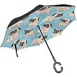 Wheatleya Sombrillas Cute Pug Dog Reverse Plegable Paraguas Protección contra...