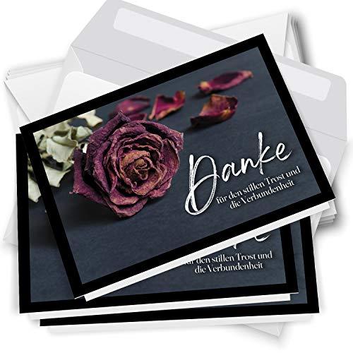 Trauer Danksagungskarten mit Umschlag | Motiv: Rose Rot, 10 Stück | Dankeskarten DIN A6 Set | Klappkarten-Trauerkarten Danksagung Danke sagen