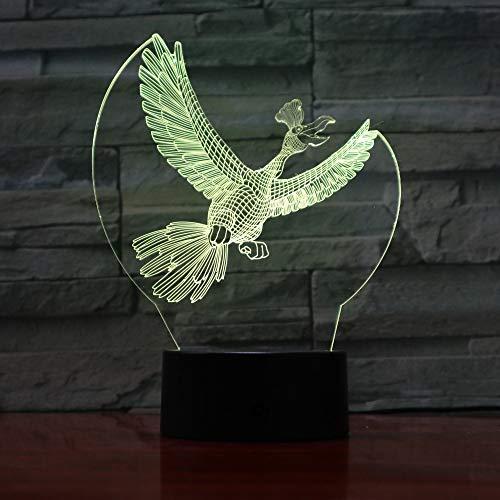 Forma De Cuervo 3D Lámpara De Escritorio Mesa 7 Cambiar El Color ...