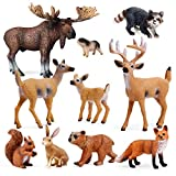 10pcs Forest Animals Figures, Woodland Creatures Figurines, Miniature Toys Cake Toppers