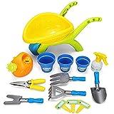 14 Pieces Kids Garden Wheelbarrow Play Set Sand Pit Beach Garden Tools Trolley Toy