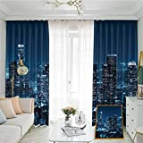 Apartment Decor Collection Studio partition Living Room Curtain Los Angeles Buildings at Night Monochromatic Photo Scenery Town Dusk Scenic for Living Room or Bedroom W84 x L108 Inch Dark Teal Navy B