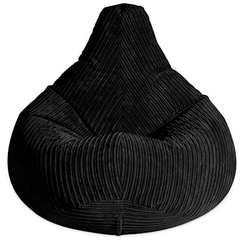 Gilda ® Highback Gamer Beanbag Chair with Amazing Back Support. Warm & cosy JUMBO CORDUROY bean bag Lounger. Suitable for adult & kids. Ideal gaming chair for bedroom/lounge FILLING INCLUDED BLACK
