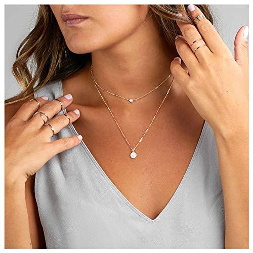 TseenYi Collar de cadena de cristal crudo con colgante de disco dorado, para mujeres y niñas
