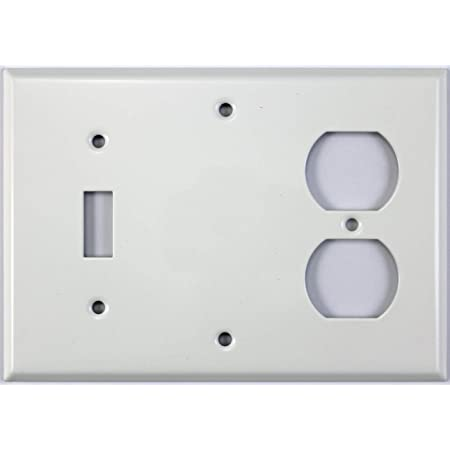 Smooth White 3 Gang Combo Wall Plate 1 Toggle Switch 1 Blank 1 Duplex Outlet