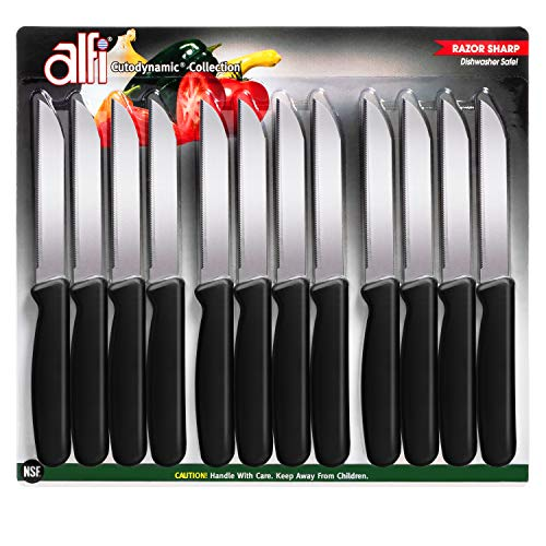 Alfi All-purpose Knives Aerospace Precision Pointed-tip - Made in USA (Classic Black, 12 pack)