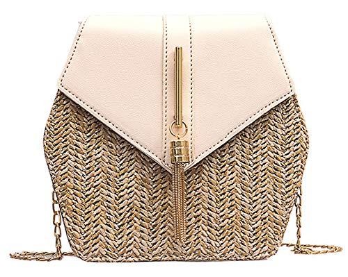 Hycurey Straw Crossbody Bag Women Weave Shoulder Bag Round Summer Beach Tote Purse and Handbags Beige