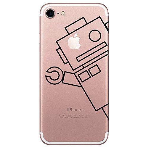 Caler iPhone 7 Hülle schutzhülle handyhüllen Weiche Flexible Silikon-Handy-Hülle Transparente Ultra Slim TPU dünne stoßfeste mit Motiv Rundum-Schutz Tasche Etui Schutzhülle Cover (Roboter)