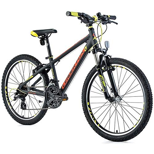 24 Zoll Alu LEADER FOX Spider Boy MTB Fahrrad Shimano Jugendrad Bike grau gelb