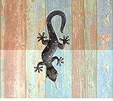 Trendshop-online Gecko Eidechse Salamander Echse Wanddeko Gartendeko Antiksilber 30 cm Blechfigur Metall