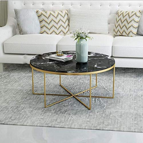 Bijzettafel,salontafel,koffietafel Side Table End Tables smeedijzer Marble Top Ronde theetafel, Waiting Area Sofa Table Living Room Reading Coffee Table Eettafel (Color : A, Size : 60CM)