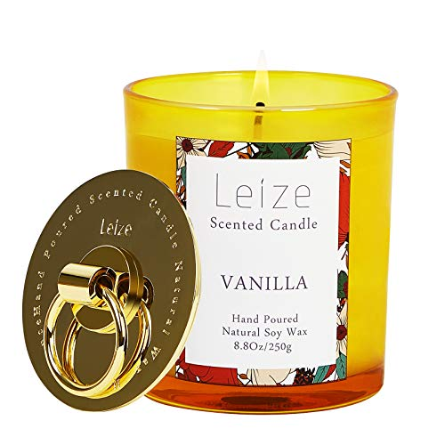 Vanilla Candles, 100% Natural Soy Scented Candles, Highly Scented Aromatherapy Candle, Glass Jar Candles with Lid, 65 Hours Burn Time, Mother's Day Candles for Home Scented by Leize