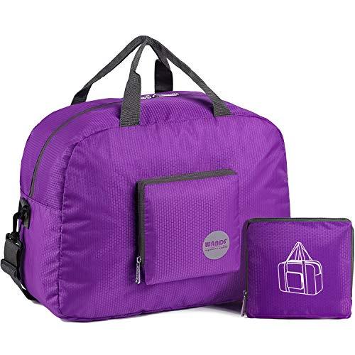 WANDF Foldable Travel Duffel Bag Super Lightweight for Luggage, Sports Gear or Gym Duffle, Water Resistant Nylon (25L Plum)