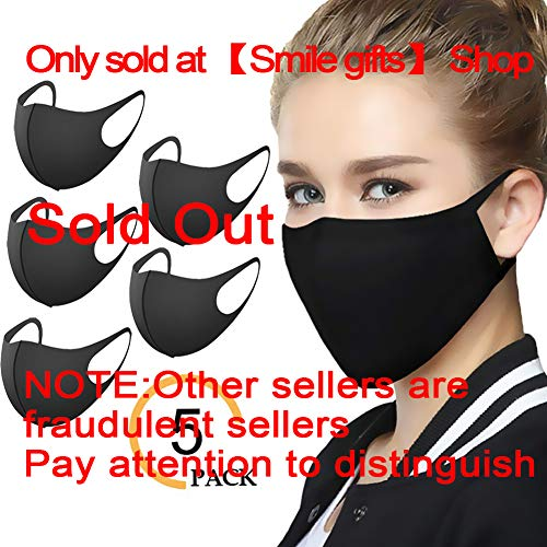 SmleGft Face Mask - 5 Pack Unisex Dust Mask with 3 Layers of Space Cotton - Washable & Reusable - Protection from Dust, Pollen, Pet Dander, Other Air Pollution - Earloop face mask for Men Women Kids