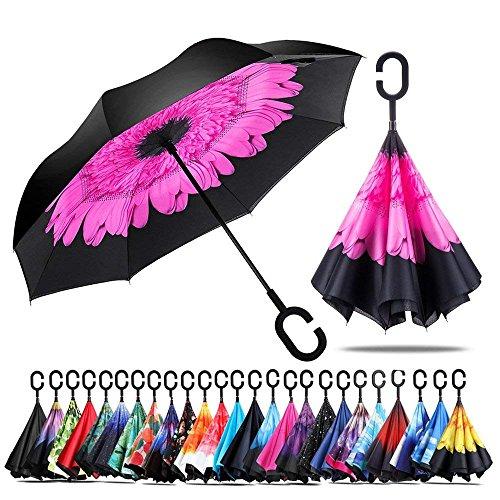 Jooayou Doppio Strato Invertito Ombrello, Manico a Forma di C Ombrello Ribaltabile Inverso, Anti UV Antivento Umbrella di Viaggio (Perilla)