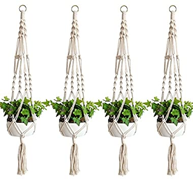 Accmor Elegant Plant Hanger Set of 4, 4 Legs 39 Inch Pure Macrame Handmade Cotton Rope Indoor Outdoor Balcony Patio Deck Ceiling Plant Holder for Round & Square Pots, Bohemian Style& Unmatched Finesse