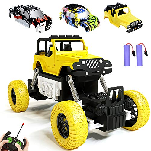 KULARIWORLD RC Cars Rechargeable Remote Control Car Off Road Truck Hobby RC Crawlers Toy for Kids Boys Girls Gift 27 MHz High Speed Stunt Vehicle with Battery