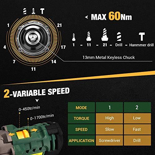 Avvitatore a Batteria 60N.m, TECCPO Trapano Percussione Batteria 18V, 2 Batterie 2000mAh, 30min Caricatore Rapido, 2 Velocità, 21+3 Posizioni, 29 Accessori