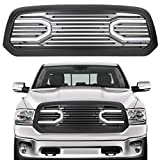 ECOTRIC Black Front Big Horn Grille Replacement Shell Grille For 2013-2018 Dodge RAM 1500 (W/Light)