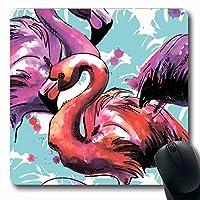 マウスパッド長方形7.9x9.8インチ鳥パターン絵画夏ペイント動物園フラミンゴ手で描く動物野生動物花のテクスチャー滑り止めゴムマウスパッドオフィスコンピューターラップトップゲームマット