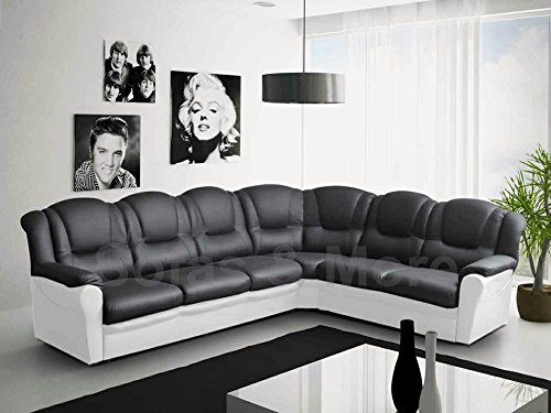 Texas Big Corner Sofa Suite - Black and White Faux Leather
