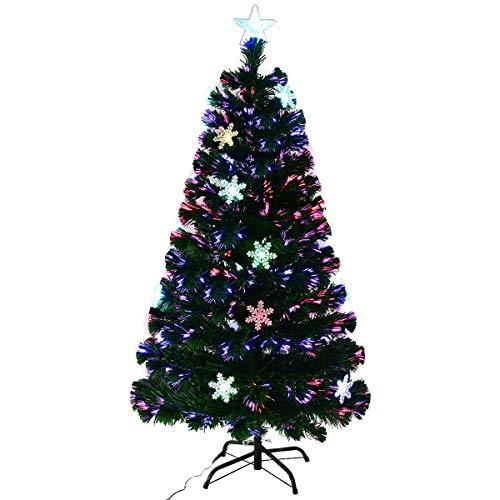 COSTWAY Albero di Natale a LED Albero di Abete Artificiale, con Fibre Ottiche di Vetro e Luci Neve, Base in Metallo, PVC, Verde, 120-210cm (210 cm)