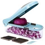 cortador de patatas Hogar de la mandolina máquina de cortar, con 3 intercambiables de acero inoxidable Hojas seguro y duradero, sin BPA, conveniente for patatas, cebollas y otras verduras y frutas