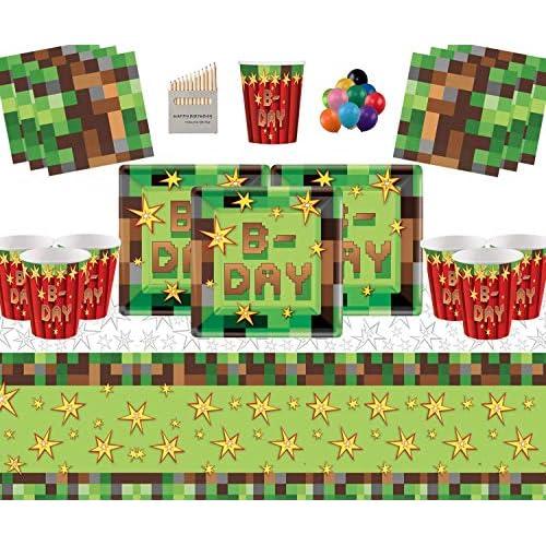 Forniture per Feste TNT 16 Ospiti Pack-TNT Piatti Quadrati Bicchieri di Carta Tovaglioli Tovaglia con Palloncini gratuiti e matite Colorate assortite