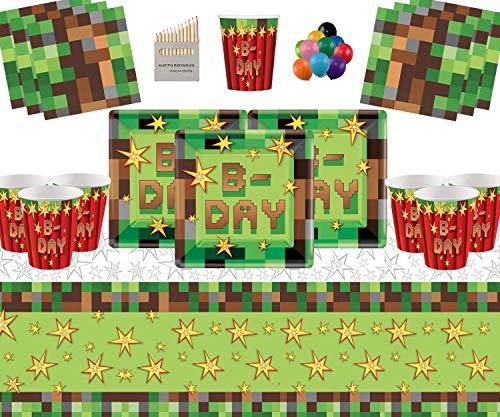 TNT Party Supplies 16 Invitados Pack-TNT Platos Cuadrados Vasos de Papel Servilletas Cubierta de Mesa con Globos Gratis y lápices de Colores Surtidos