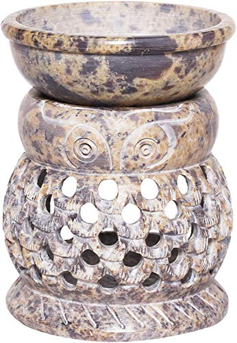 ARTISENIA Hand Carved Essential Owl Oil Burner Diffuser Made of Soapstone with...