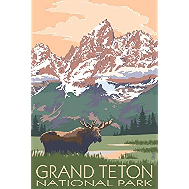 Grand Teton National Park, Wyoming - Moose and Mountains (16x24 Giclee Gallery Print, Wall Decor Travel Poster)
