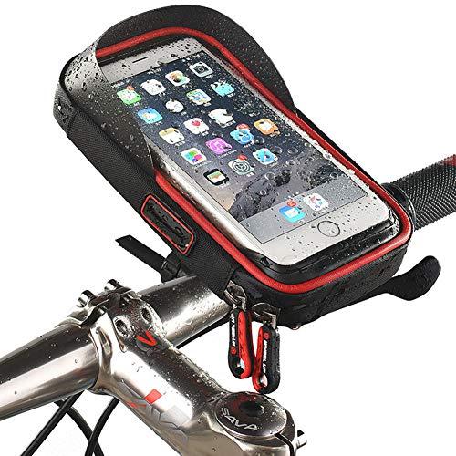 Fahrrad Rahmen Tasche, TPU-Touchscreen, Fahrrad Handytasche mit Sonnenblende, Kopfhörerloch Innen, Drehbar, wasserdichte Oberrohrtasche ist Für 4.5-6.4 Zoll Smartphones Geeignet (rot)