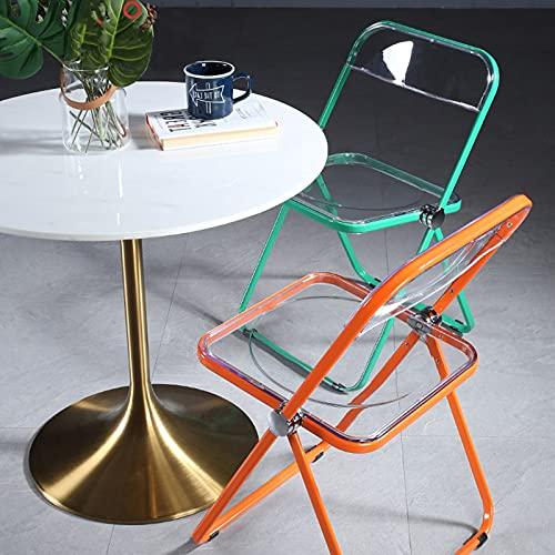 Folding Chairs Silla Plegable Transparente, Marco con Color, Silla De Comedor, Plegado De Silencio, Sin Necesidad De Instalar, Sin Espacio, 48 * 48 * 75 Cm (Color : Transparent Black Frame)