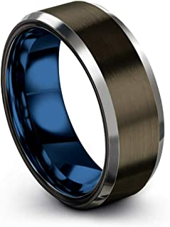 Tungsten Carbide Wedding Band Ring 8mm for Men Women Green Red Blue Purple Black Gunmetal Copper Fuchsia Teal Interior with Beveled Edge Brushed Polished