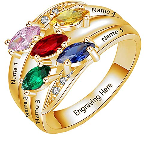 Name Rings Personalized 925 Silver Ring with 5 Names 5 Birthstones, Engraved Family Names Mothers Day Gift for Mom(10)