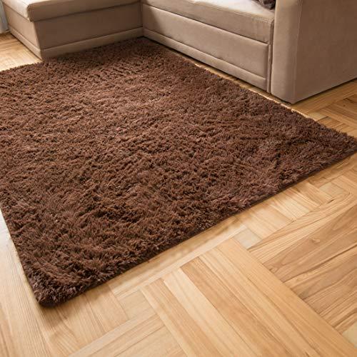 Carpeto Rugs Teppich Hochflor Wohnzimmerteppich Langflor Bettvorleger - Teppiche für Wohnzimmer Schlafzimmer Kinderzimmer - Weicher Modern Einfarbig Flauschig Shaggy - rutschfest Braun 120 x 170 cm