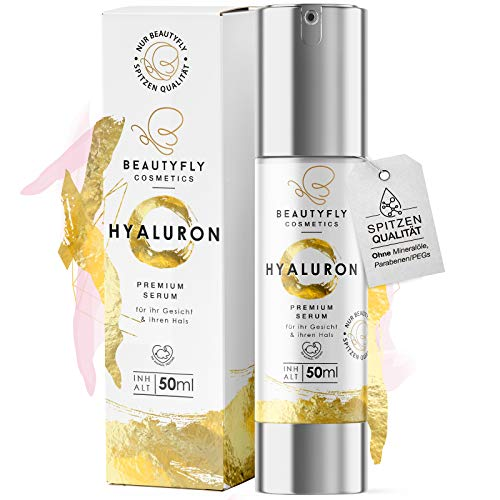 *NEU* Original BeautyFly Hyaluron Serum I 50ml Natürliche Hyaluronsäure Anti-Aging Creme I Dermaroller geeignet I Naturkosmetik Made in Germany I Familienbetrieb aus Heidelberg (50ml)