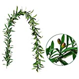 GWOKWAI Artificial Olive Leaf Garland, Ivy Vines Leaf Greenery Ornament for Wedding Backdrop Home Indoor Outdoor Wall Party Decoration