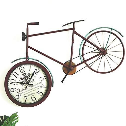 XFSE Reloj de Pared Reloj De Pared De Vidrio Marrón De Bicicletas Reloj De Pared De La Sala Redonda Reloj Decoración De La Barra 890 * 80 * 530 (MM)