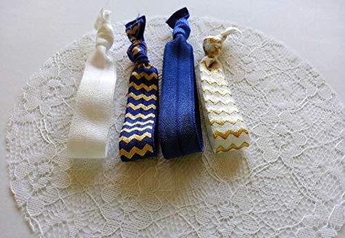 Royales Chevron - Geknotete Haargummis/Armbänder - Blau Weiß Gold - 4er Set (18)