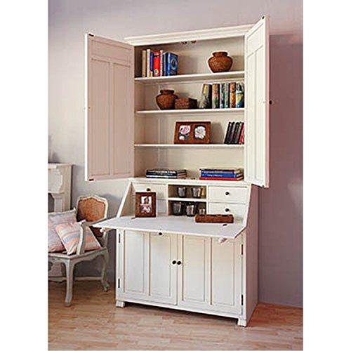 Edlewelt Jaques armadio ufficio secretaire in stile country bianco 120x 55x 240cm