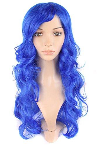 MapofBeauty 24 Pouce/60cm Adorable Fluffy Longue Bouclé Perruques (Marine Bleu)