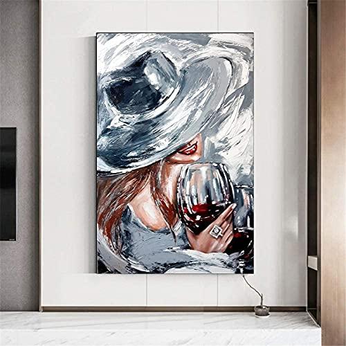 GKZJ Póster Obras de Arte Arte Abstracto Graffiti Mujer Impresión de Copa de Vino Pintura al óleo Impresión de póster Pintura de Pared Pintura Decoración del hogar 70x90cm sin Marco