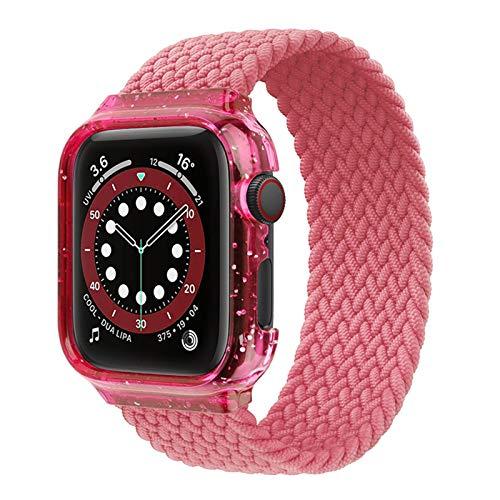 DAAGFC Solo Tejido Trenzado Loop For IWatch Banda De 44mm 40mm IWatch Banda Estuche + Correa Brazalete De La Serie IWatch 4 5 6 SE (Color : Pink Punch, Size : M(42mm-44mm))