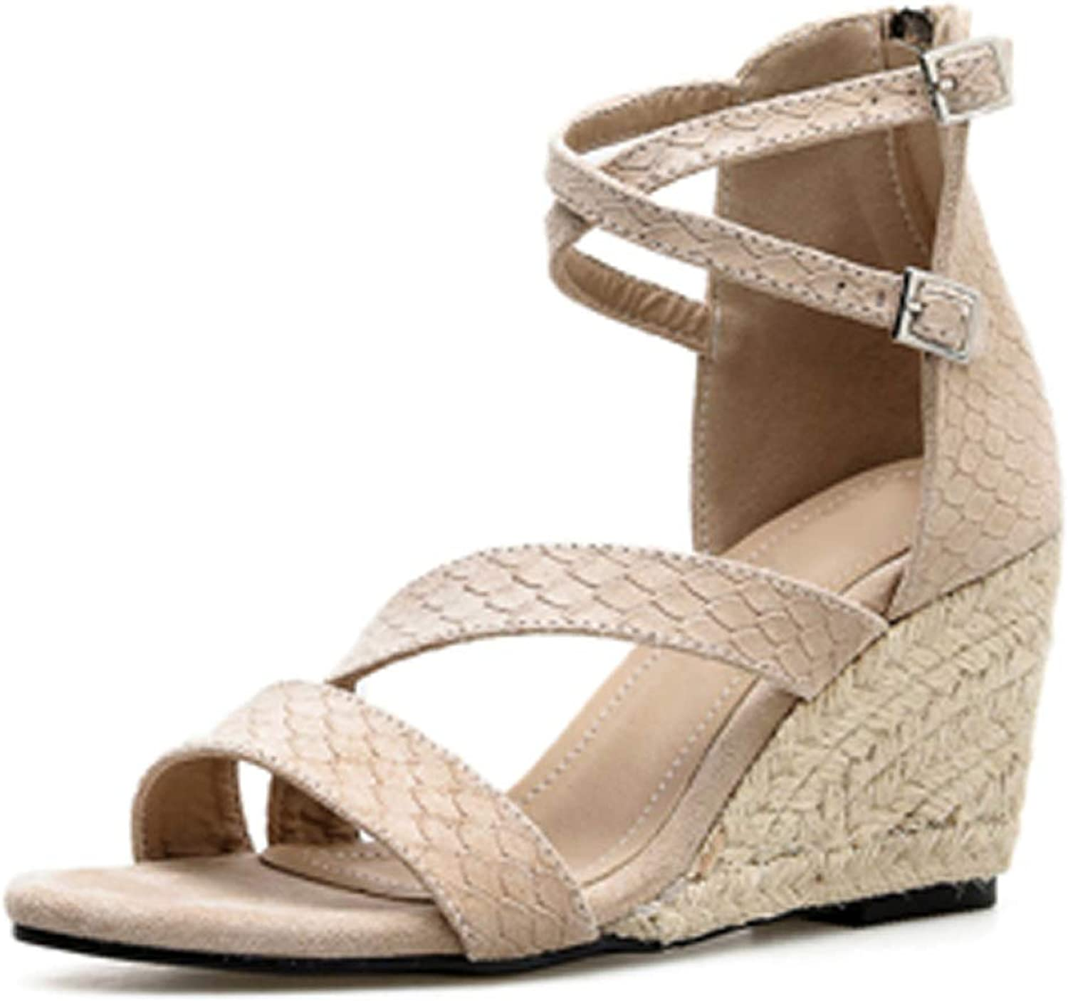 MEIZOKEN Women's Crisscross Strappy Espadrilles Comfort Non-Slip Ankle Strap Zipper Summer Gladiator Wedges Sandals