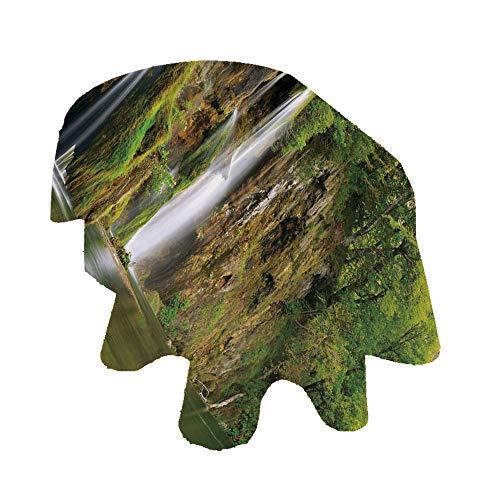 Angel Bags Nature - Mantel ovalado de poliéster, diseño de cascada majestuosa que fluye hasta el río en el parque nacional, para mesa de comedor y fiesta, 152 x 251 cm, verde, marrón, blanco